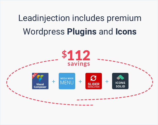 Leadinjection includes premium Wordpress Plugins and Icons: Visual Composer, Slider Revolution, Mega Main Menu, Icons Solide